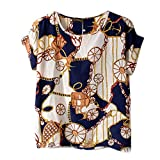 Vobaga Women's Big Wheels Printed Chiffon T shirt Batwing Loose Blouse Casual Tee Tops M