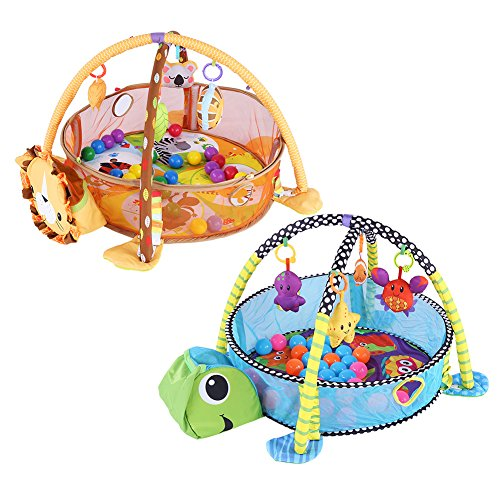 - Multi-Functional Baby Play Mat, Baby Kids Game Play Activity Gym Mat Crawling Carpet with Safety Guard Mesh Colorful Balls Toys Gift New (Turtle)