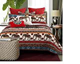 5 Piece Reversible Elephant Bohemian Themed Quilt Set King Size, Featuring Colorful Animal Floral Print Design Comfortable Bedding, Stylish Boho Inspired Adult Bedroom Decor, Red, Grey, Multicolor