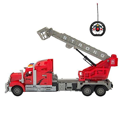 Red RC Big Rig Bucket Boom Semi Trailer Truck (14.5