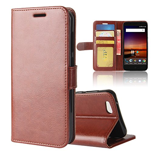 Torubia Zte Tempo X N9137 Case  Zte Tempo X N9137 Wallet Case  Leather Cases  Premium Slim Leather Wallet Back Case With Credit Card Id Holder Protective Cover For Zte Tempo X N9137 Brown