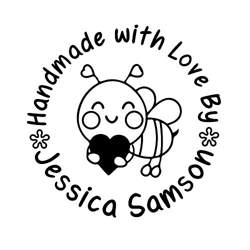 Customized 42mm Round Hero Arts Busy as a Bee Honeybee Handmade DIY Made with Love By Heart Shape Design Library Monogram Self Inking Return Name Rubber Stamp Business Address Label - A Label Return To How Print