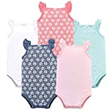 Hudson Baby Unisex Baby Sleeveless Cotton Bodysuits, Basic dot/Floral 5-Pack, 18-24 Months (24M)