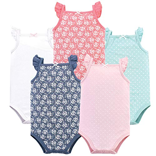 Hudson Baby Unisex Baby Sleeveless Cotton Bodysuits, Basic dot/Floral 5-Pack, 12-18 Months (18M) ()