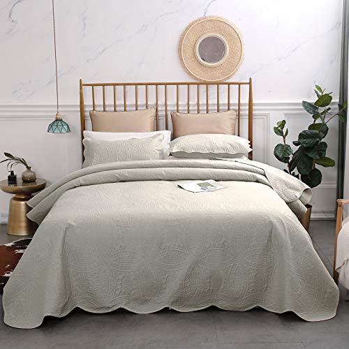 VEEYOO Bedspread Coverlet Set 3 Pieces - Soft Microfiber Lightweight Comforter Quilt Set for All Season, King/Cal King, Ivory