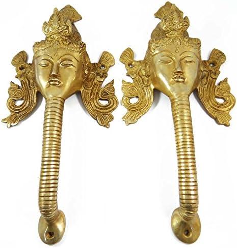 Indian壁装飾メタルFigurineゴールデン真鍮エスニックホームD ?Cor宗教アート