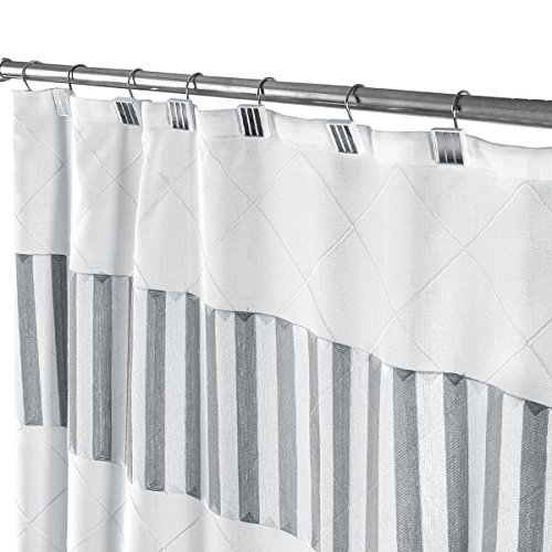 Quilted Mirror Decorative Fabric Shower Curtain White, Includes PEVA Shower Curtain Liner, Mildew Resistant, 72 x 72 inch, Polyester Soft Touch Waterproof Washable Cloth Shower Curtains for Bathroom by Creative Scents