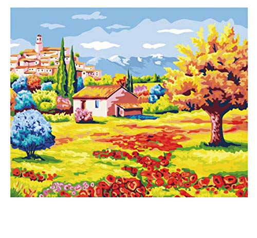 ADVLOOK Flower Land DIY Pintura by Numbers Abstract Pintura Al Óleo Rural sobre Lienzo Acrílico Cuadro De La Pared para La Habitación Sin Marco 40X50Cm