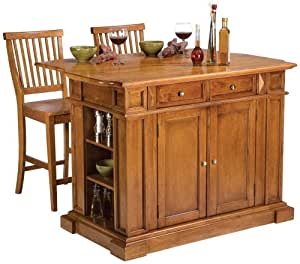 Home Styles 5004 948 Distressed Oak Kitchen Island And Stools Bar Serving Carts