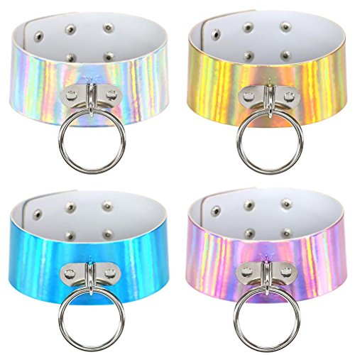 FM FM42 Multicolor Holographic Hologram PU Large O Shape Ring Neckband Choker Necklace Set, 4PCs PN1560