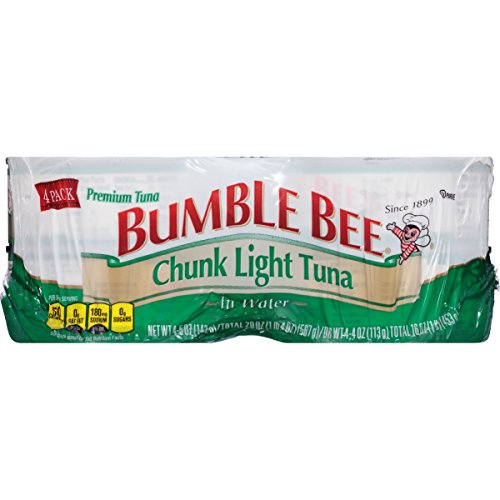 BUMBLE BEE Chunk Light Tuna in Water, 5 Ounce Cans (Pack of 4), Canned Tuna in Water, Tuna Fish, High Protein Snacks, Great for Tuna Salad, Gluten Free Foods Grocery, Keto Food (Best Tasting Tuna Fish)
