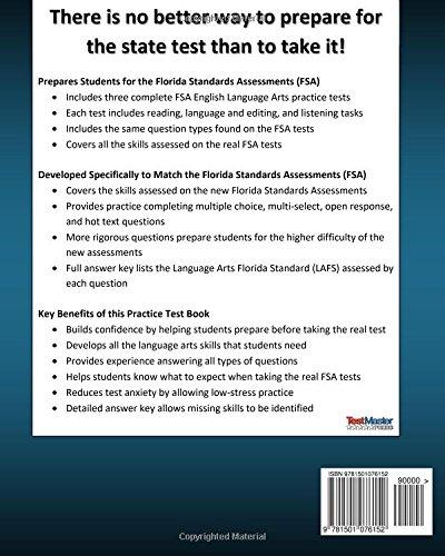 FLORIDA TEST PREP FSA Practice Test Book English Language Arts ...