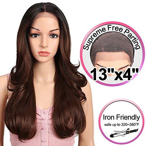 JOEDIR 22 Big Curly Wavy Supreme Free Parting Lace Frontal Wigs With Baby Hair High Temperature Synthetic Wigs For Black Women 180% Density Wigs Ombre Color 250g(TT1B/33)