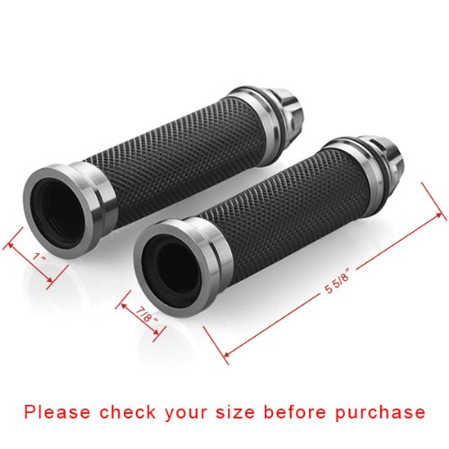 Motorcycle Gunmetal Rubber Hand Grip For 7//8 22mm Handlebar Street Sport Dirt Bike with Billet Aluminum Bar End Cap