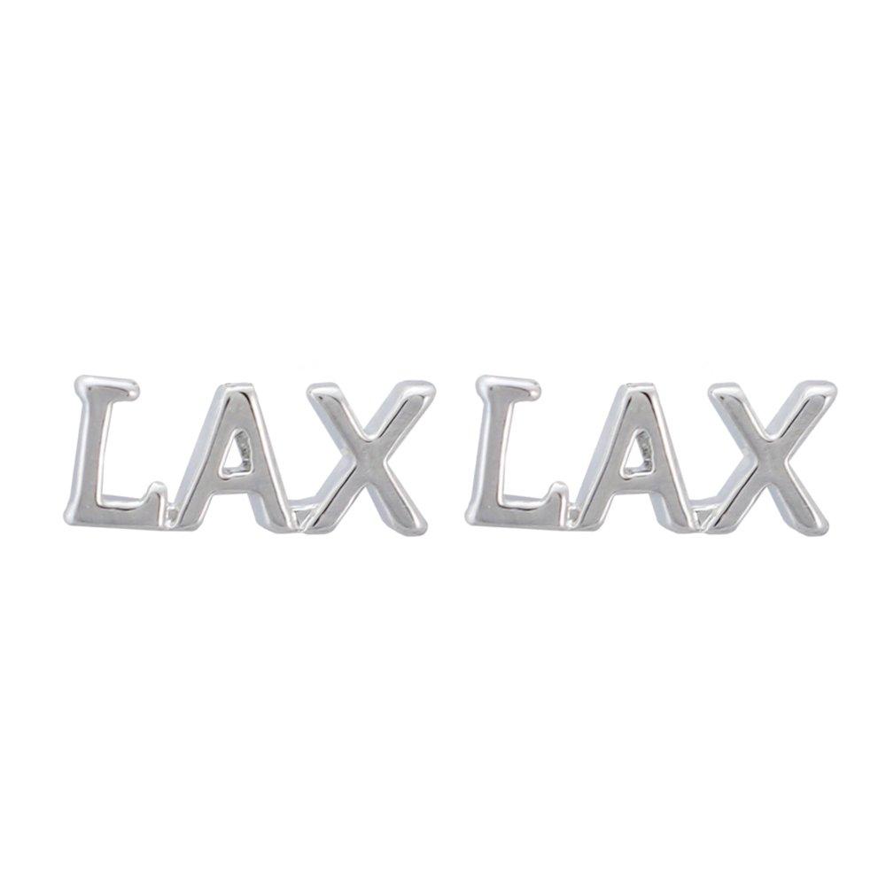 LAX Lacrosse Earrings - LAX Charm Silver Post Earrings