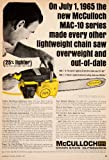 1965 Ad McCulloch Chain Saw Outboard Engine Tool Implement Farm Construction - Original Print Ad