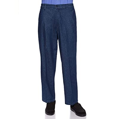 AKA Half Elastic Wrinkle Free Flat Front Men's Slacks - Relaxed Fit Twill Casual Pant at Men's Clothing store