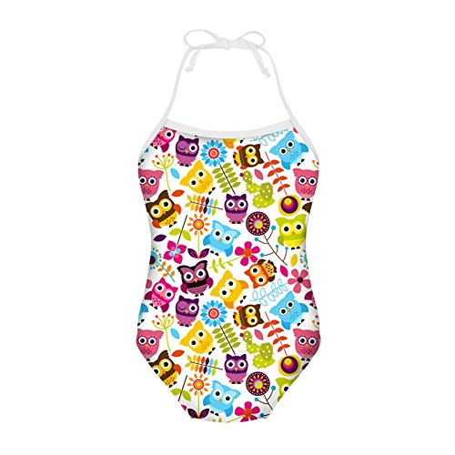 Coloranimal One-Piece Swimsuit Bathing Suit for Girls Owl Prints Outdoor Bikini 5-6Y
