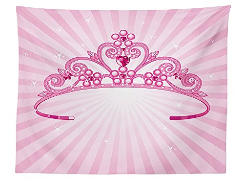 [vipsung Girls Nursery Kids Room Decor Tablecloth Beautiful Pink Fairy Princess Costume Print Crown with Diamond Image Art Dining Room Kitchen Rectangular Table] (Rosetta Fairy Costumes)