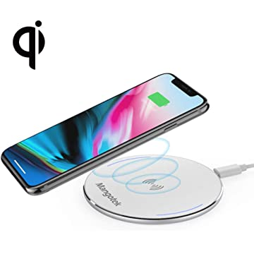 Wireless Charger Mangotek Portable Charging Pad QI Certificated Fast Charging for Samsung S8/S7/S6 Edge+/Note 5 and Normal Speed for iPhone X/ 8/8 Plus and All Qi-Enabled Devices [NO AC Adapter]