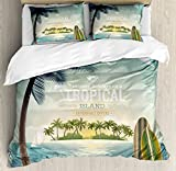 Vintage Hawaii Duvet Cover Set Queen Size by Lunarable, Old School Island on the Horizon Surfing Boards Kite Beach Holiday Theme, Decorative 3 Piece Bedding Set with 2 Pillow Shams, Blue Green Tan
