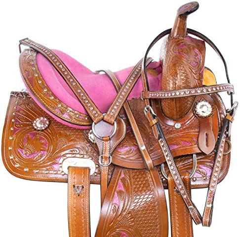 Acerugs 10 12 13 14 Youth Kids Hand Carved Crystal Bling Show Barrel Racing Rodeo Pleasure Trail Western Leather Children Pony Horse Saddle TACK Set