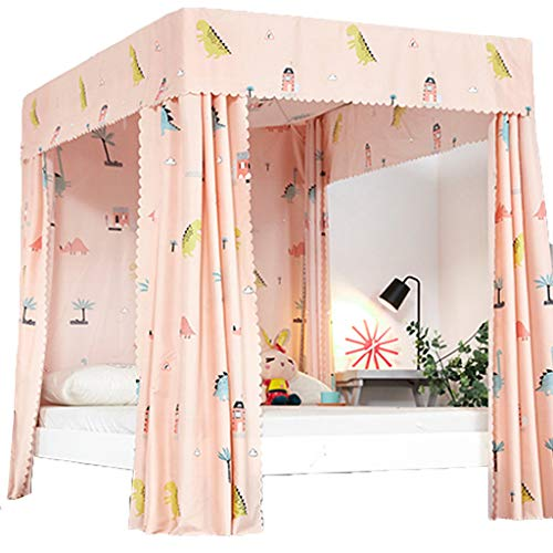 Obokidly Princess 4 Corner Post Bed Curtain Canopy;Windproof Lightproof Bed Canopy Mosquito Net Bedroom Decoration for Adults Girls Bed Canopies Child Gift (Orange-Animal, Full) ()