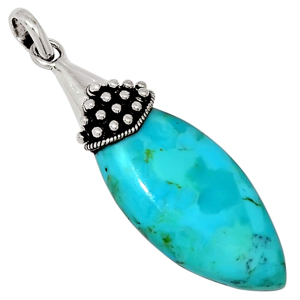 Xtremegems Stablized Blue Turquoise 925 Sterling Silver Pendant Jewelry 2 28777P