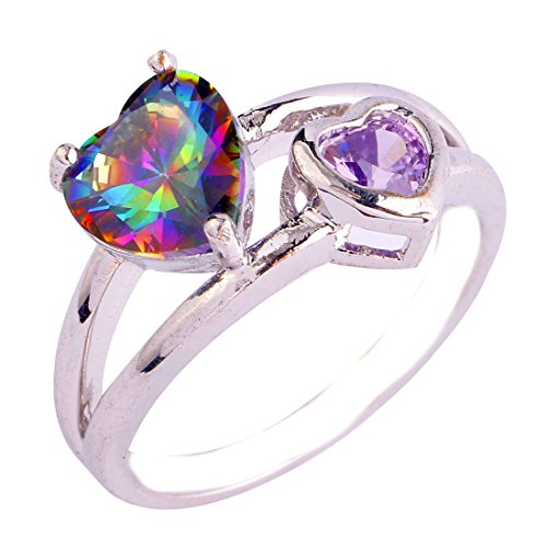 Empsoul 925 Sterling Silver Natural Fancy Plated Rainbow Topaz Heart Shaped Wedding Ring