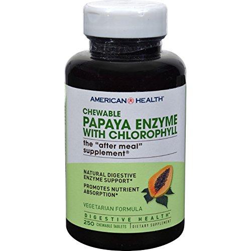 American Health Papaya Enzyme with Chlorophyll Chewable - 250 (Chlorophyll 250 Tab)