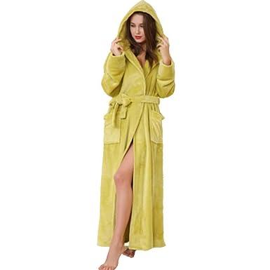 Mens Fleece Robe, lange Kapuzen Bademantel Morgenmantel, Damen Coral ...