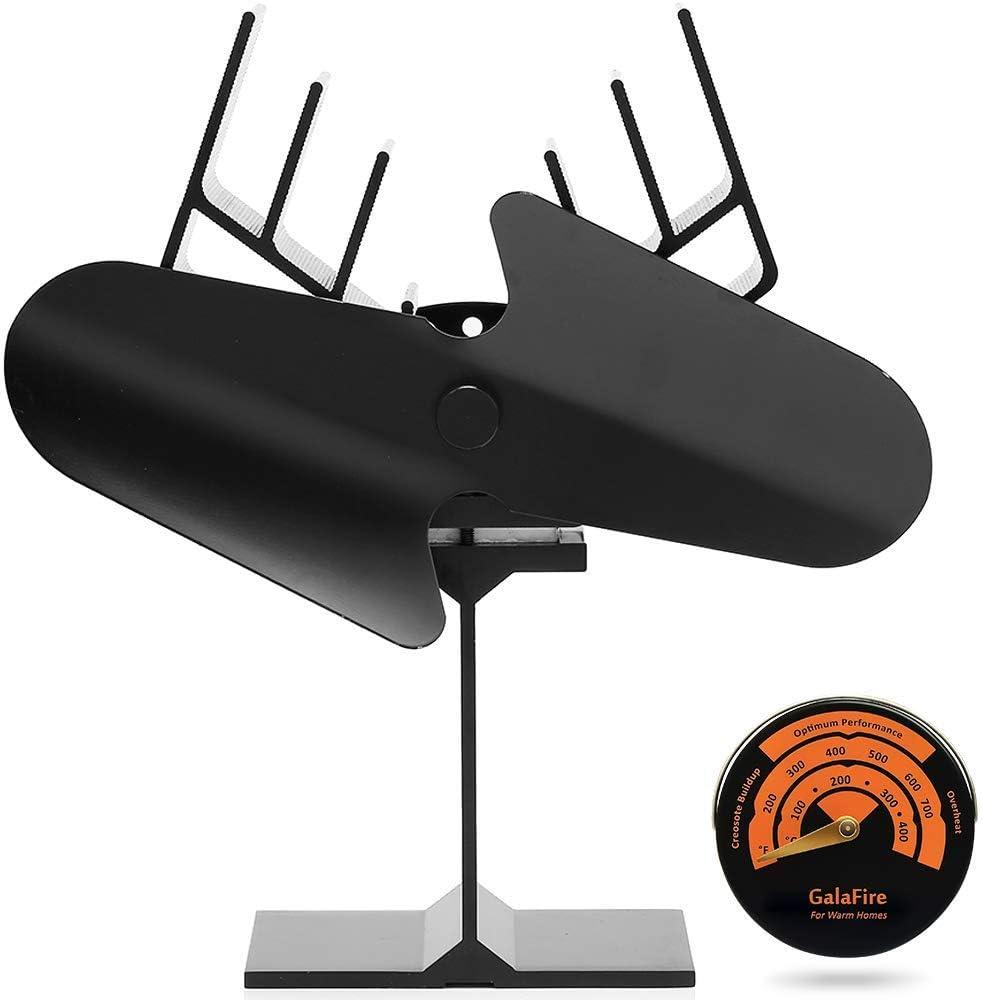 GALAFIRE [2 años] Flujo de Aire grande Ventilador de la Estufa, Ventilador de Estufa Alimentado por Calor, Ventilador de Chimenea de leña 2 Aspas + Termómetro Magnético de la Estufa