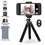 Photo : iPhone Tripod Phone Tripod,Lightweight Small Portable and Adjustable Camera Stand Holder with Bluetooth Remote and Universal Clip for iPhone, Android Phone, Camera and GoPro