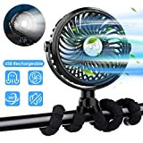 XIMU Stroller Fan, USB Rechargeable 3 Speeds Mini Handheld Fan with Flexible Tripod & LED Light, Ultra Quiet Portable Personal Fan for Stroller Car Seat Bike Camping Office Outdoors
