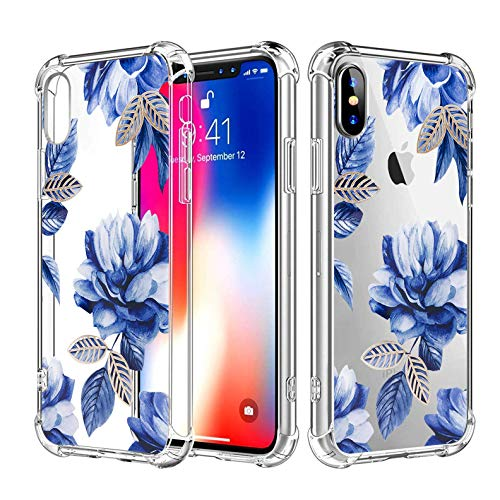 Topwin iPhone Xs Max Floral Soft TPU Case, Clear Transpatent Crystal Floral Flower Pattern Slim Thin Lightweight Flexible TPU Case with Four Bumpers for Apple iPhone Xs Max 6.5 inch (Blue)