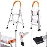New Non-slip 2 Step Aluminum Ladder Folding Platform Stool 330 lbs Load Capacity ;HJ#7-545/MKI94 G1570611
