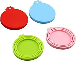 BULUSHI Pet Food can Cover/Silicone can Cover for Dog and cat Food, Silicone can Cover for pet Dog and cat Food can top one Size fits All Standard Size can top Universal Silicone can lid 4pcs