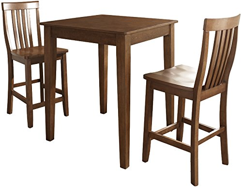 Crosley Furniture 3-Piece Pub Set with Tapered Leg Table and Schoolhouse Stools - Classic Cherry from Crosley Furniture