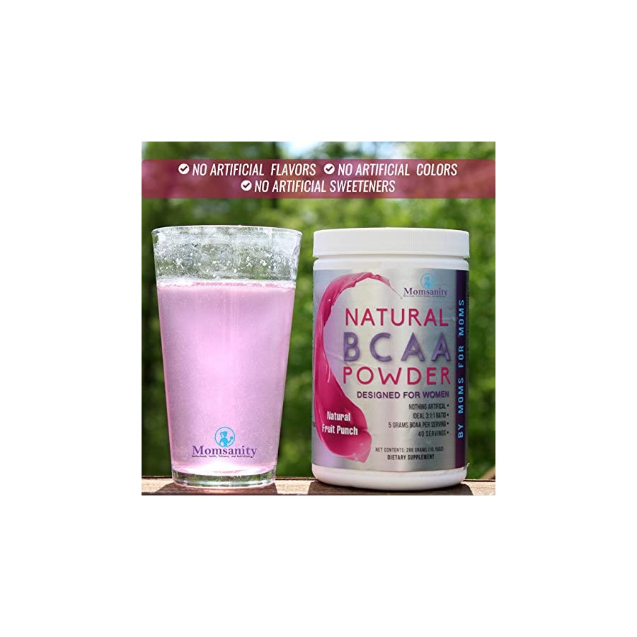 Natural BCAA Powder. Great Tasting Fruit Punch Flavor. 40 Servings. Sweetened with Stevia, Erythritol, and Monk Fruit. Made by Women For Women. Free Recipe Guide Included.