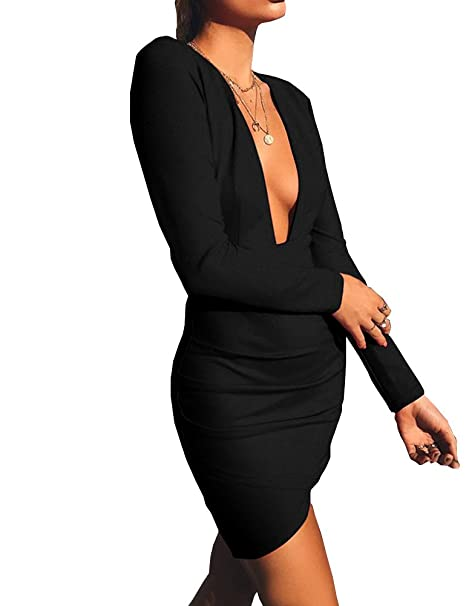11a0dd2a81 Haola Women s Deep V Neck Bodycon Dress Long Sleeve Backless Sexy Club  Party Dresses at Amazon Women s Clothing store