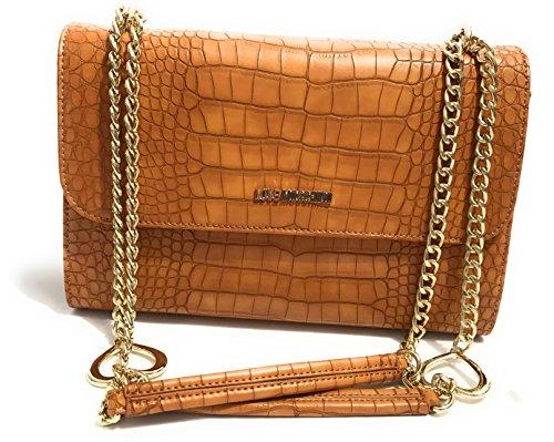 Moschino - Bolso al hombro para mujer marrón cuero