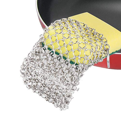 """Price comparison product image Chainmail Scrubber 8""""x6"""" HomeStyleZ Stainless Steel Cast Iron Cleaner With Natural Sponge Insert Compatible with Cast Iron Pan,  Grill,  Waffle Iron Pans,  Dutch Oven,  Cookware & Pot"""