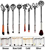Game of Thrones Brushes Merchandise - Harry Potter Costume Makeup Gift Set for Women Set Fancy Foundation Brush, Eyeshadow Brushes, Contour Brush, Eyebrow Brush (Silver)