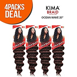 Harlem125 Synthetic Hair Braids Kima Braid Ocean Wave 20 (4-Pack, 1B) by Harlem 125