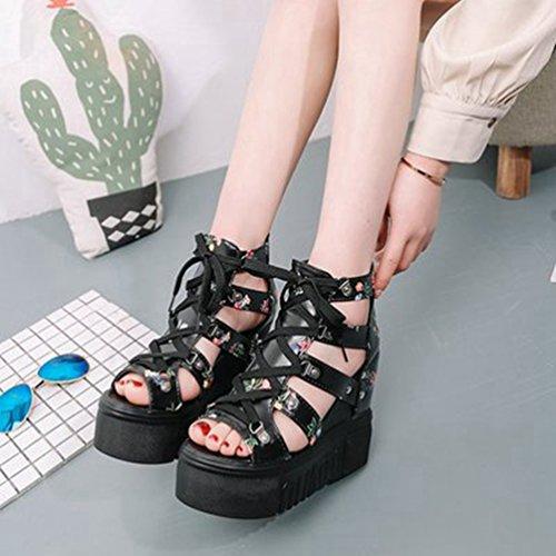 Floral Zipper Booties Femmes Noir Talon Sandals caché Peep Gladiator Platform Chunky Toe Wedges Caged Bvdvq4