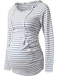 HKDGID Womens Maternity Nursing Hoodie V Neck Splaid Patchwork Breastfeeding Clothes
