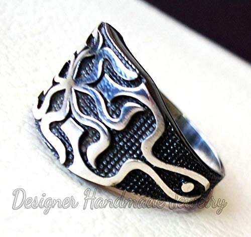 (Celtic knot sterling silver 925 heavy man heavy symbol ring shape any size antique style high quality jewelry handmade ring, men's signet ring, silver oxidized ring, man's huge ring)