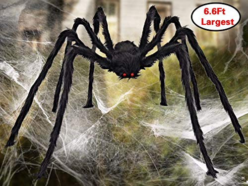 Aiduy Outdoor Halloween Decorations Scary Giant Spider Fake Large Spider Hairy Spider Props for Halloween Yard Decorations Party Decor, Black, 79 Inch]()