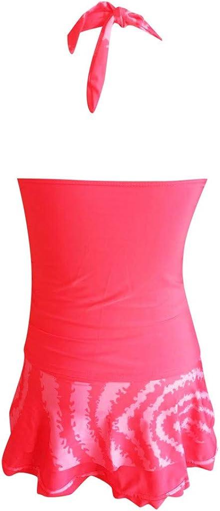 HULKY Sale Swimwear Ladies Large Size Conservative Hanging Neck Bikini Set Push-Up Padded Bra Color Three-Piece Split Skirt Shorts Women Swimming Costume Swimsuit