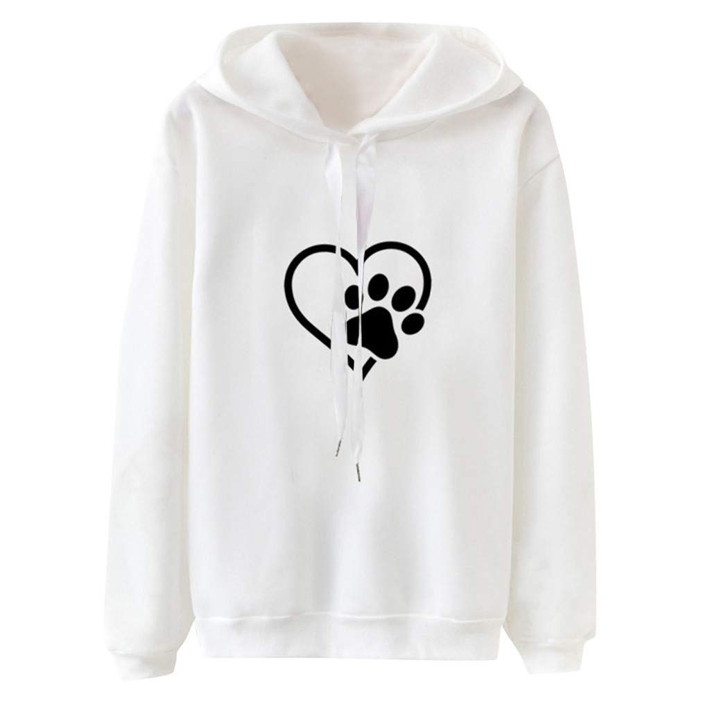 Women Long Sleeve Casual Hooded Sweatshirt Pullover Top Blouse Fleece Comfortable Blouse White